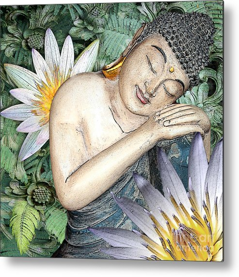 Buddha Metal Print featuring the digital art Spring Serenity by Christopher Beikmann