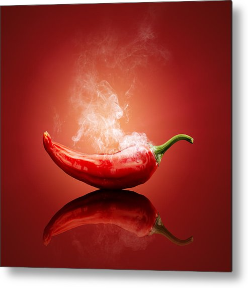 Chilli Metal Print featuring the photograph Steaming Hot Chilli by Johan Swanepoel