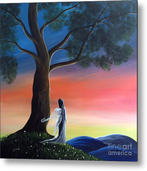 Fairies Metal Print featuring the painting Sunset Fairy By Shawna Erback by Shawna Erback