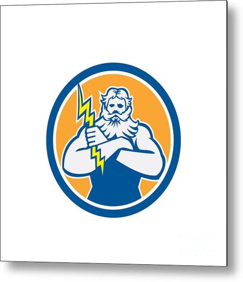 Zeus Metal Print featuring the digital art Zeus Greek God Arms Cross Thunderbollt Circle Retro by Aloysius Patrimonio