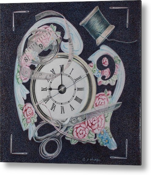 Fantasy Realistic Still Life Metal Print featuring the painting A Stitch In Time by Patsy Sharpe