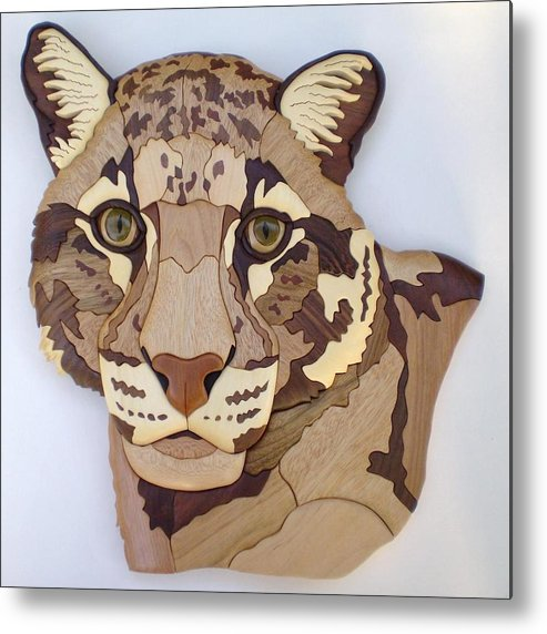 Clouded Leopard Metal Print featuring the sculpture Clouded Leopard by Annja Starrett