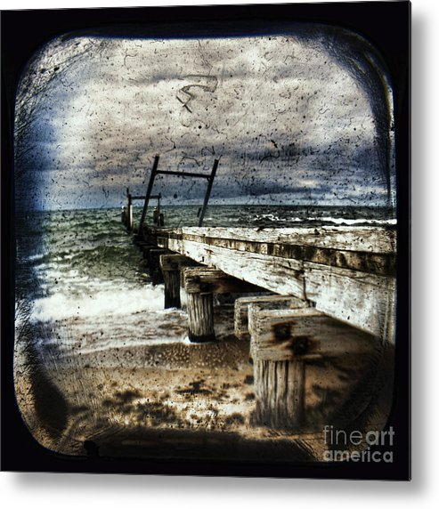 The Old Elwood Pier Metal Print featuring the photograph Deconstruction by Andrew Paranavitana