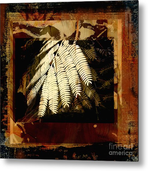 Mixed Media Digital Collage Metal Print featuring the mixed media Mimosa Leaf Collage by Ann Powell