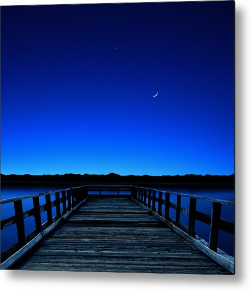 Square Metal Print featuring the photograph Moon And Venus In The Blue by Carlos Gotay