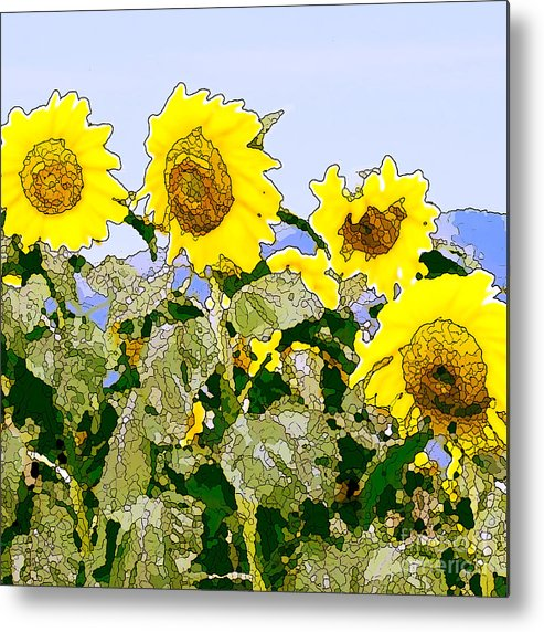 Sunflowers Metal Print featuring the painting Sunflowers Sunbathing by Artist and Photographer Laura Wrede