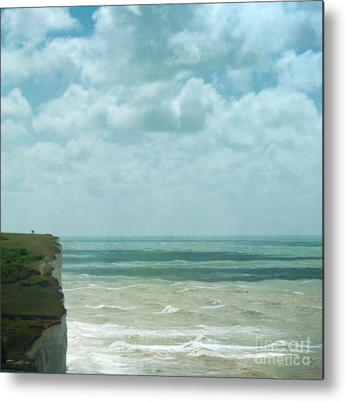 Waves Below Us Cliffs Channel Sea England South Coast Chalk Textures Flypaper Classic Defence Romance Isolation Fresh Private English Britain Uk Europe Metal Print featuring the photograph The Waves Bellow Us by Paul Grand