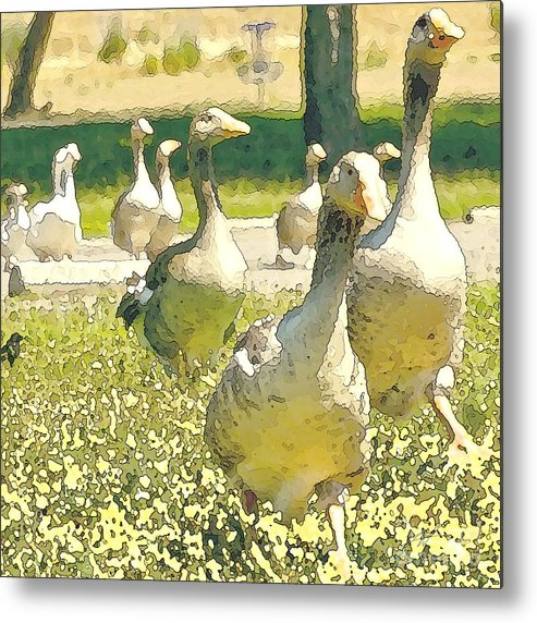 Goose Metal Print featuring the painting Time To Get Moving by Artist and Photographer Laura Wrede