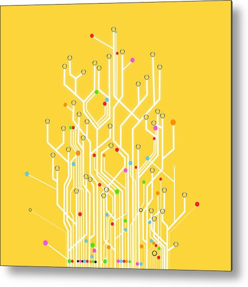 Abstract Metal Print featuring the photograph Circuit Board Graphic by Setsiri Silapasuwanchai