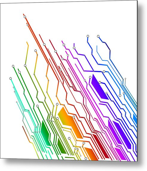 Abstract Metal Print featuring the photograph Circuit Board Technology by Setsiri Silapasuwanchai