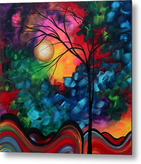 Abstract Metal Print featuring the painting Abstract Landscape Bold Colorful Painting by Megan Duncanson
