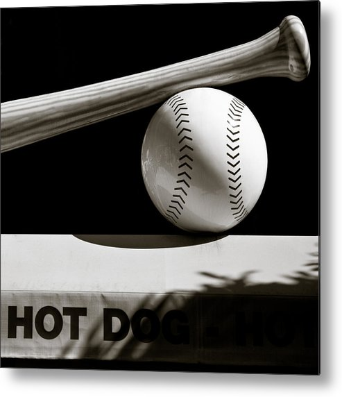 Baseball Metal Print featuring the photograph Bat And Ball by Dave Bowman