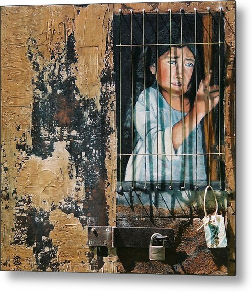 Asian Girl Metal Print featuring the painting Captive by Teresa Carter