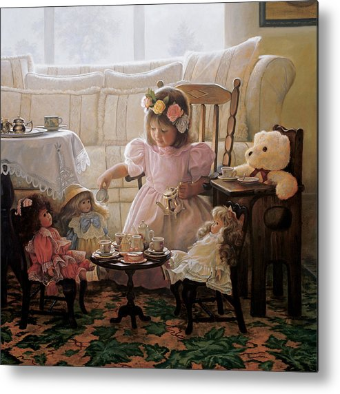 Girl Metal Print featuring the painting Cream And Sugar by Greg Olsen