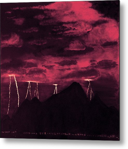 Painting Metal Print featuring the painting Crimson Storm by Dawn Hay