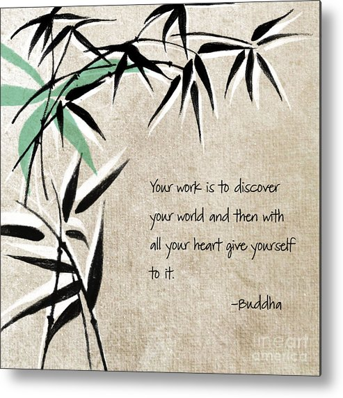 Zen Metal Print featuring the mixed media Discover Your World by Linda Woods