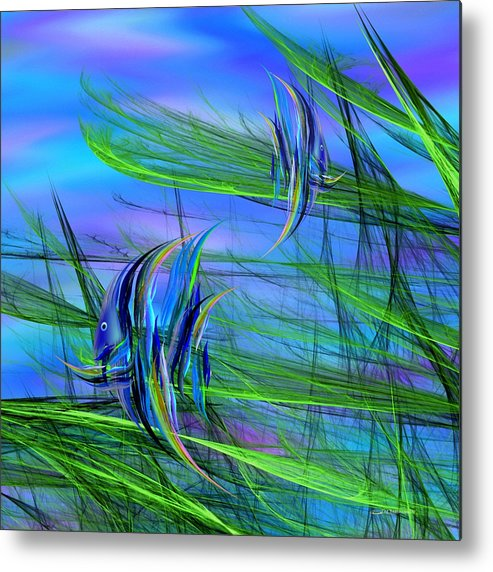 Abstract Impressionism Metal Print featuring the digital art Dos Pescados En Salsa Verde by Wally Boggus
