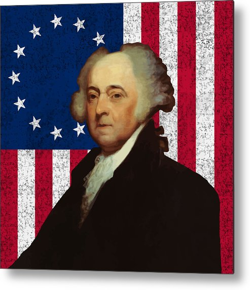 John Adams Metal Print featuring the painting John Adams And The American Flag by War Is Hell Store