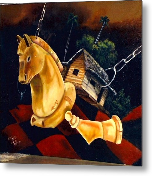 Chess Pieces Metal Print featuring the painting Juego Fatal by Carlos Rodriguez Yorde