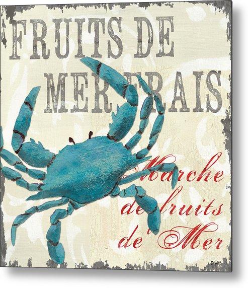 Coastal Metal Print featuring the painting La Mer Shellfish 1 by Debbie DeWitt