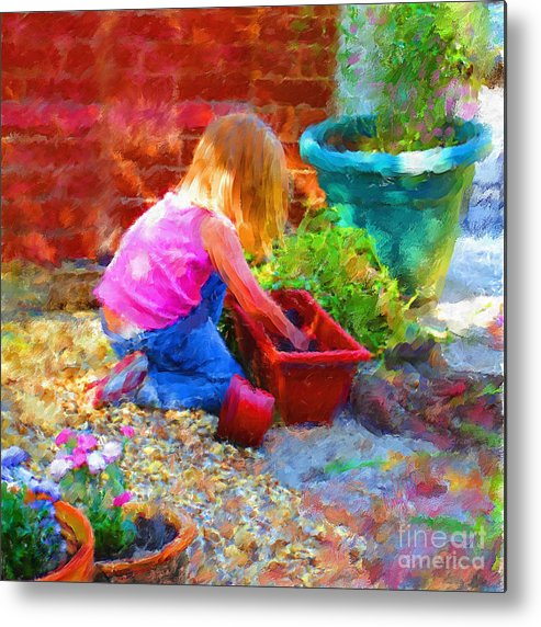 English Metal Print featuring the mixed media Lucys English Garden by Marilyn Sholin
