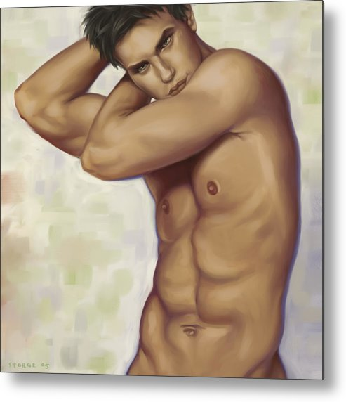 Male Metal Print featuring the painting Male Nude 1 by Simon Sturge