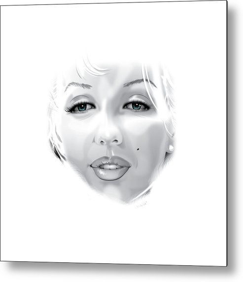 Marilyn Munroe Metal Print featuring the drawing Marilyn by Brian Gibbs