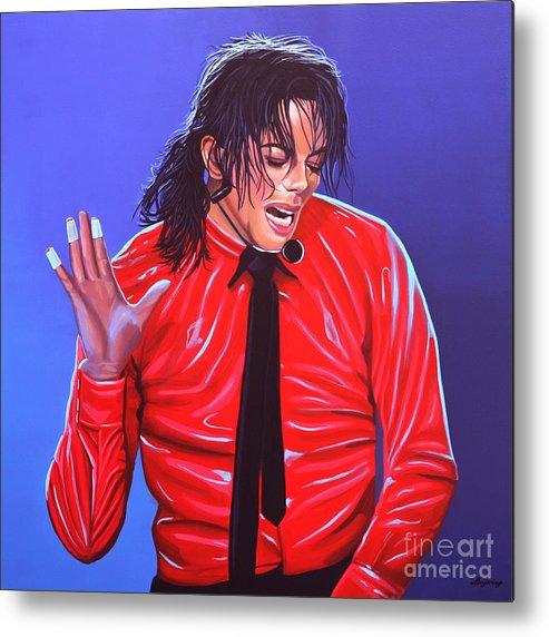 Michael Jackson Metal Print featuring the painting Michael Jackson 2 by Paul Meijering