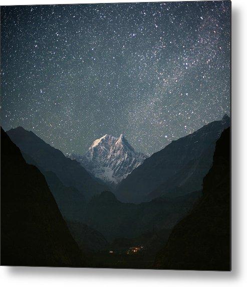 Square Metal Print featuring the photograph Nilgiri South (6839 M) by Anton Jankovoy