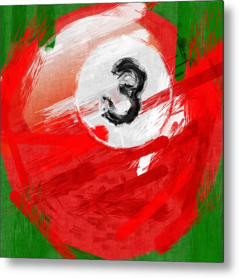 3 Metal Print featuring the photograph Number Three Billiards Ball Abstract by David G Paul