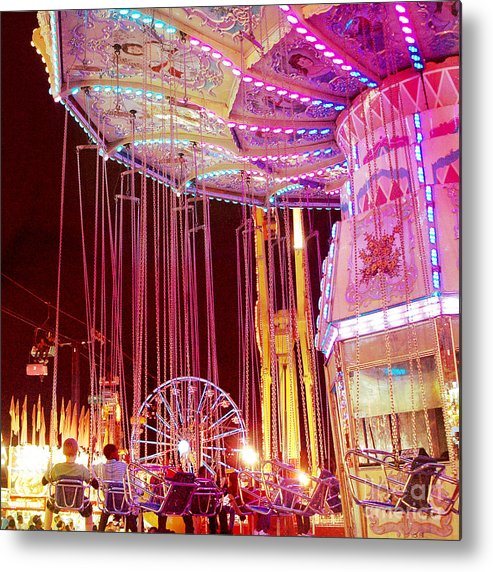 Hot Pink Ferris Wheel Photos Metal Print featuring the photograph Pink Carnival Festival Ferris Wheel Night Ride by Kathy Fornal