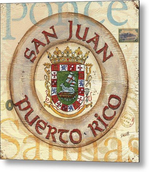 San Juan Metal Print featuring the painting Puerto Rico Coat Of Arms by Debbie DeWitt
