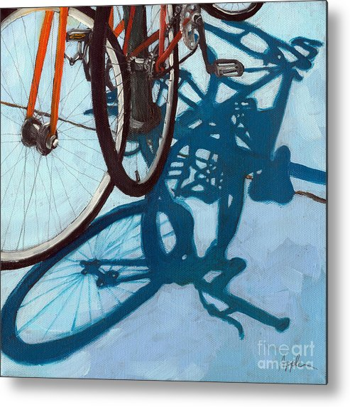 Blue Metal Print featuring the painting Together - City Bikes by Linda Apple