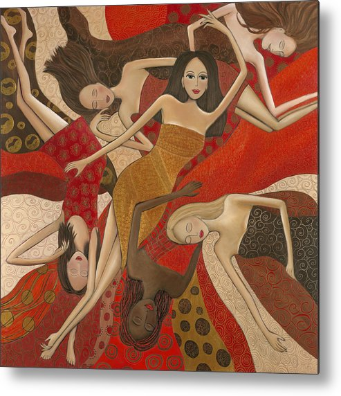 Female Metal Print featuring the painting Vermilion Dream by Denise Daffara
