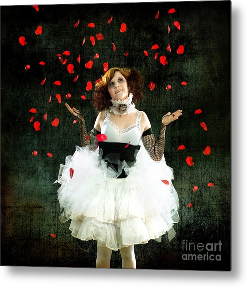 Rose Metal Print featuring the photograph Vintage Dancer Series Raining Rose Petals by Cindy Singleton