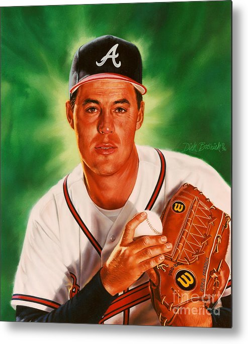 Sports Metal Print featuring the painting Greg Maddux by Dick Bobnick