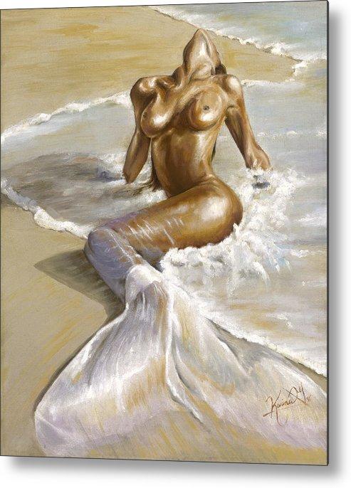 Mermaid Metal Print featuring the painting Mermaid by Karina Llergo