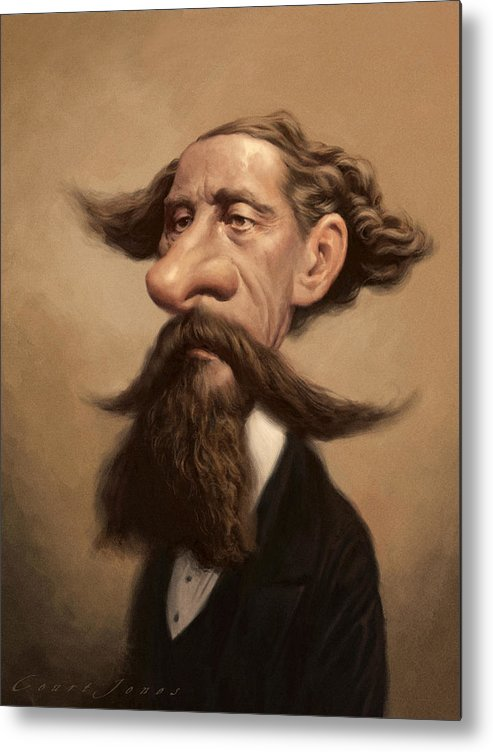 Charles Dickens Metal Print featuring the painting Charles Dickens by Court Jones