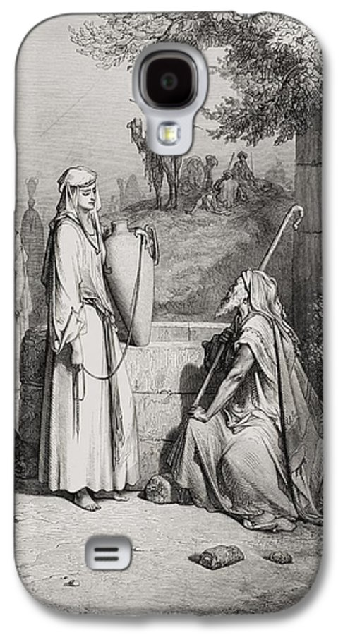 Male Galaxy S4 Case featuring the painting Eliezer And Rebekah by Gustave Dore