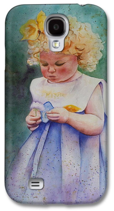 Child Galaxy S4 Case featuring the painting Maggie's Dandelion by Patsy Sharpe
