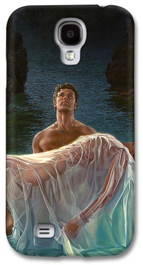 Blue Galaxy S4 Case featuring the painting Resurrection by Mia Tavonatti