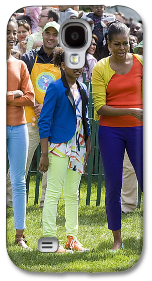 Easter Egg Roll South Lawn Easter Obama Barack Obama Michelle Obama Sasha Obama Malia Obama First Lady Fasion 2012 South Lawn White House Full Length Galaxy S4 Case featuring the photograph The First Lady And Daughters by JP Tripp