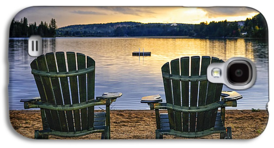 Lake Galaxy S4 Case featuring the photograph Wooden Chairs At Sunset On Beach by Elena Elisseeva