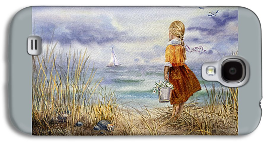 Girl And The Ocean Galaxy S4 Case featuring the painting A Girl And The Ocean by Irina Sztukowski