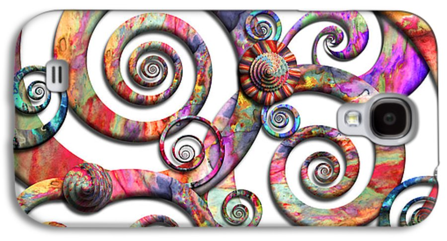 Abstract Galaxy S4 Case featuring the digital art Abstract - Spirals - Wonderland by Mike Savad