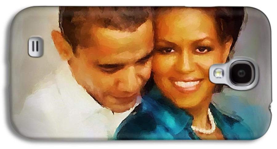 Barack Obama Galaxy S4 Case featuring the painting Barack And Michelle by Wayne Pascall