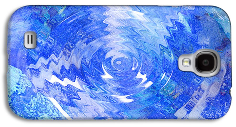 Blue Galaxy S4 Case featuring the digital art Blue Twirl Abstract by Ann Powell