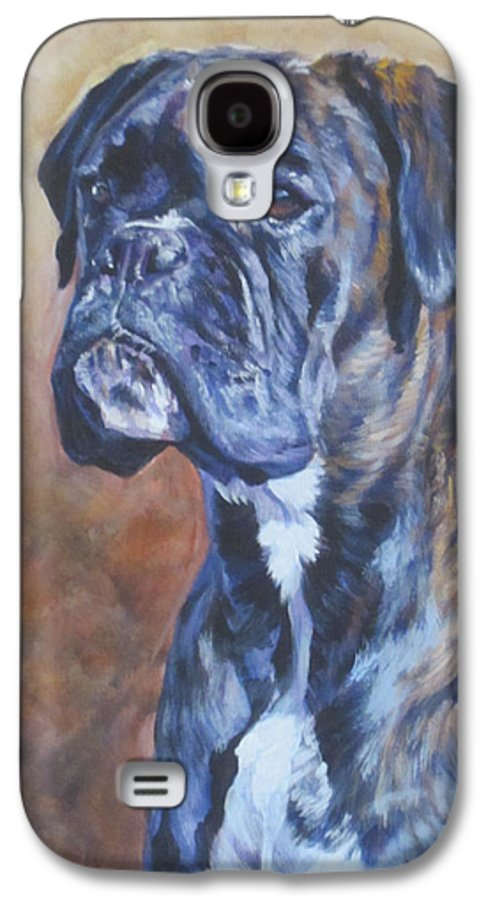 Boxer Galaxy S4 Case featuring the painting Brindle Boxer by Lee Ann Shepard
