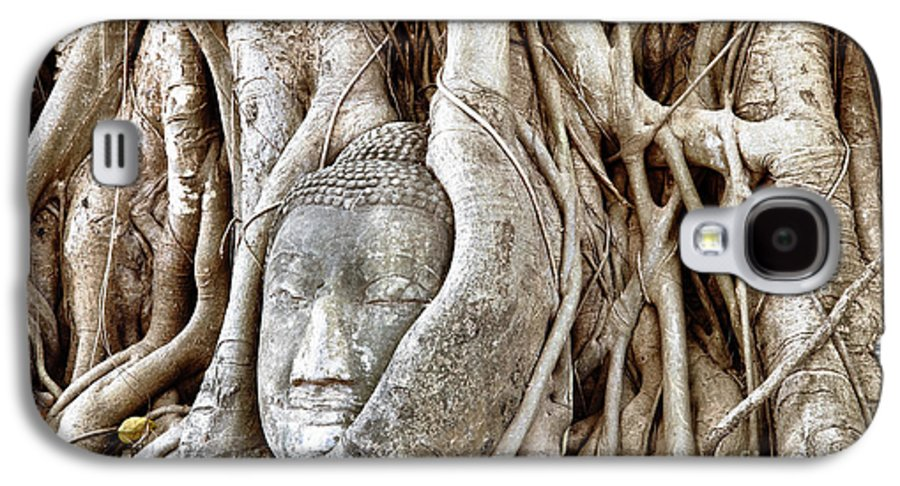 Asia Galaxy S4 Case featuring the photograph Buddha Head In Tree Wat Mahathat Ayutthaya Thailand by Fototrav Print