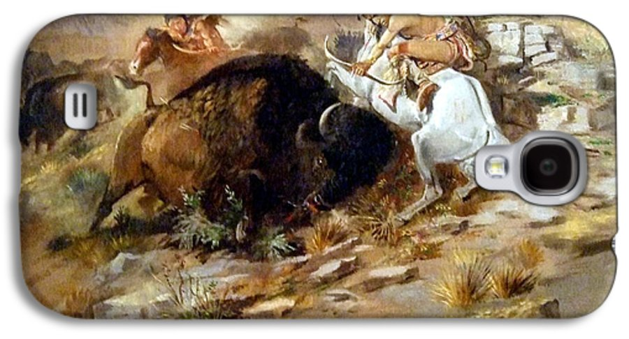 Buffalo Hunt Galaxy S4 Case featuring the digital art Buffalo Hunt by Charles Russell